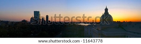 beautiful awe inspiring Bird's Eye Panoramic view of Boston on a early Spring evening as the sun sets - stock photo