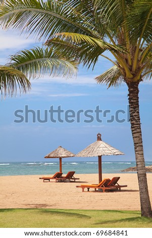 beautiful balinese Nusa Dua beach - stock photo