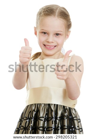 Beautiful blonde girl in fashionable dress shows a hand gesture all is well-isolated on white background - stock photo