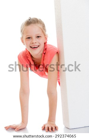 Beautiful blonde girl smiling looks out over the obstacles- isolated on white background - stock photo