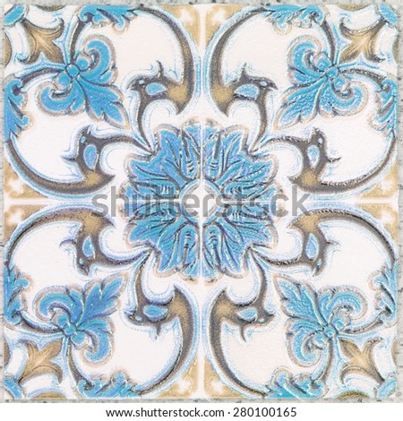 Beautiful ceramic tiles patterns handcraft from thailand In the park public. - stock photo