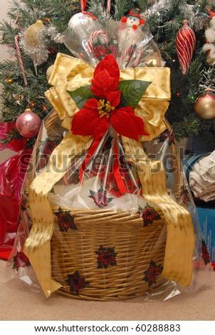 Beautiful Christmas Gift Basket - stock photo