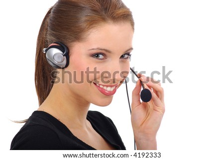 Beautiful Customer Support with headset smiling during a telephone conversation over white background