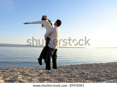 Beautiful day at the beach - stock photo