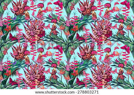 Beautiful fashionable seamless floral jungle pattern background. Exotic birds, tropical flowers, palm leaves and plants, butterflies, bird of paradise flower, orchid, exotic print - stock photo