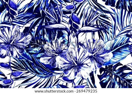Beautiful fashionable seamless floral jungle pattern background. Tropical flowers, palm leaves and plants, hibiscus, bird of paradise flower, exotic print - stock photo
