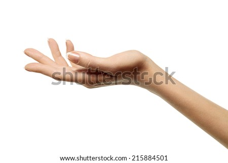 beautiful female hand isolated on white background - stock photo