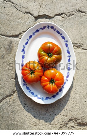 Beautiful fresh ripe heirloom tomatoes on a plate with setting sun - stock photo