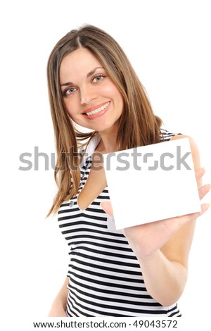 Beautiful  girl holding empty white board