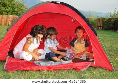 Beautiful green place and children activities - stock photo