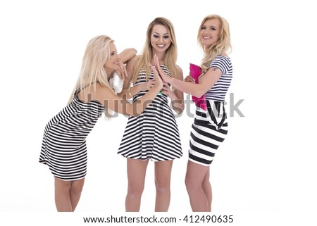 Beautiful happy sexy women in stylish trendy summer outfit posing against white background  - stock photo