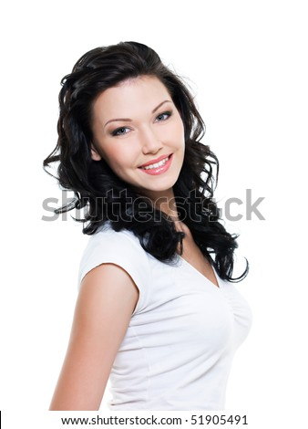Beautiful happy woman with tothy smile - on  white background - stock photo