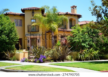 Beautiful homes and estates in the Santa Monica City, California. - stock photo