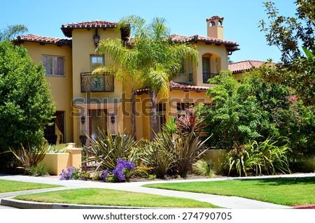 Beautiful Homes Estates Santa Monica City Stock Photo