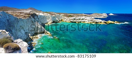 beautiful island  Milos, Greece ,rocky landscape with torcuoise waters - stock photo