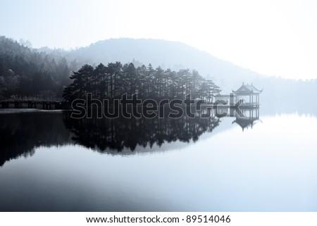 beautiful lake like a painting - stock photo