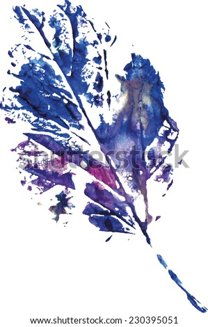 beautiful leaf of a tree in a cold blue colors painted watercolors imprint - stock photo