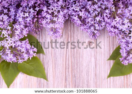 Beautiful lilac flowers on wooden  surface - stock photo