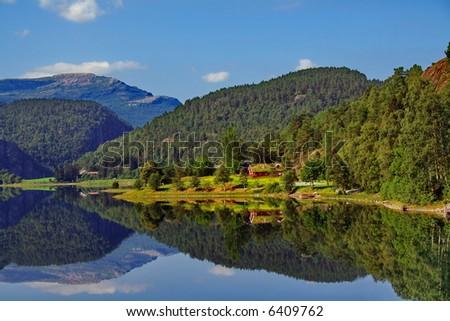 beautiful norwegian fjord - nord europe landscape - stock photo