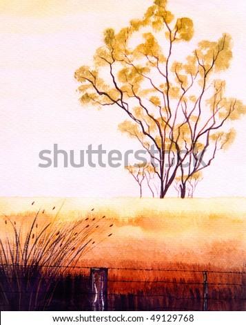 Beautiful original Landscape Watercolor Painting On Paper - stock photo
