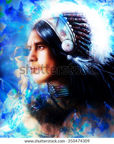 beautiful painting of a young indian warrior wearing a gorgeous feather headdress, profile portrait, r abstract color background, blue, black and white color.