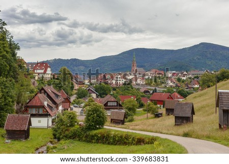 Beautiful panoramic view of the mountain village Bermersbach.Black Forest. Germany.Schwarzwald.