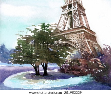 Eiffel Tower Canvas Stock Photos, Royalty-Free Images ...  Eiffel Tower Painting Landscape
