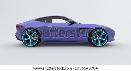 Beautiful Purple Sports Car, White Background. 3d Rendering