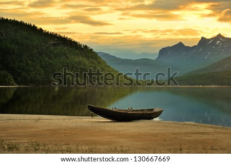 Beautiful rural landscape deep in norwegian mountains, - stock photo