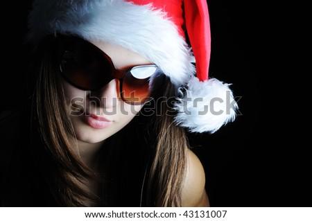 Beautiful santa  girl - stock photo