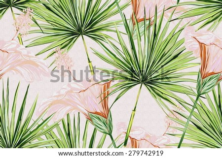Beautiful seamless floral jungle pattern background. Tropical flowers and palm leaves, hibiscus, exotic print - stock photo