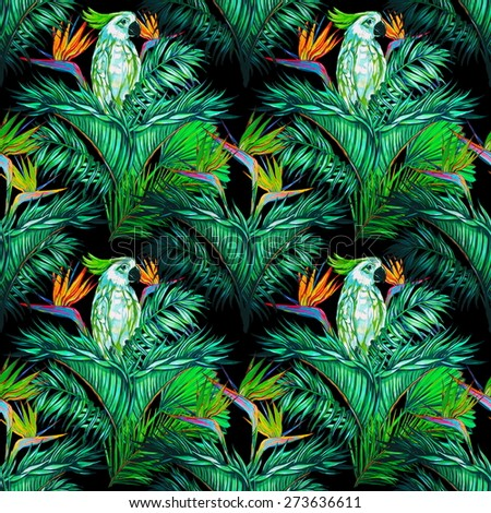 Beautiful seamless vintage floral jungle pattern background. Parrots, tropical flowers, palm leaves and plants, bird of paradise flower, exotic print - stock photo