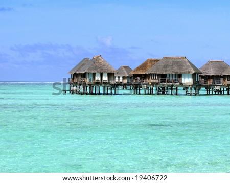 :-) Beautiful Seascape & Water Villa - stock photo