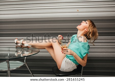 Beautiful slim sexy girl in the kitchen Beautiful slim sexy girl in the kitchen  - stock photo