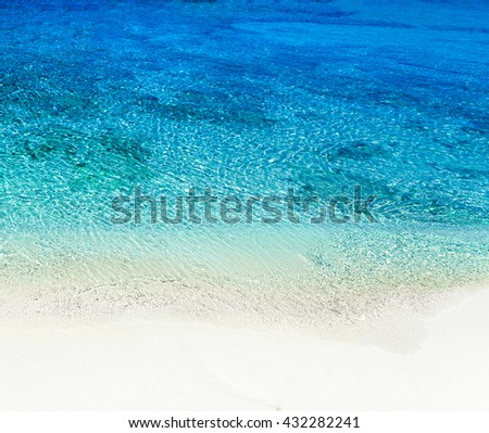 Beautiful Sunny Beach Coastline with Panorama Tranquility Bay. Beach vacation background