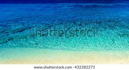 Beautiful Sunny Beach Coastline with Panorama Tranquility Bay. vacation background  - stock photo