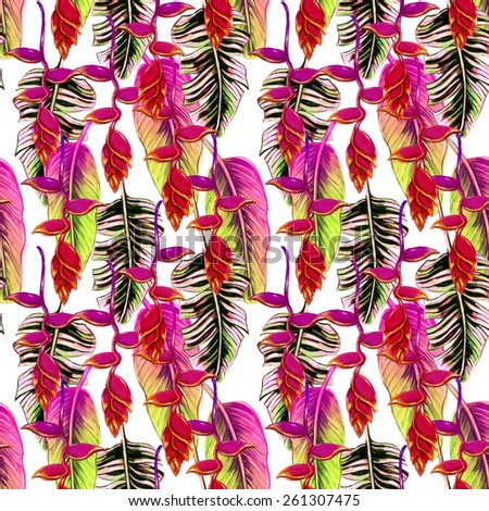 Beautiful trendy seamless floral jungle pattern background. Colorful watercolor tropical flowers, palm leaves and plants, exotic print
