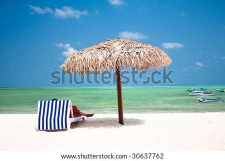 Beautiful tropical  beach at the Agatti island - stock photo