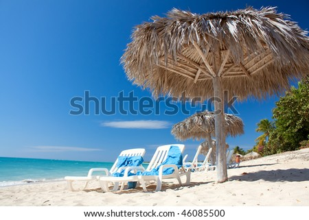 Beautiful tropical  beach at the Caribbean island with white sands and water - stock photo