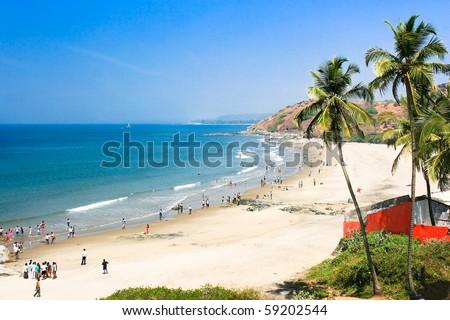 Beautiful Tropical beach in Vagator,Goa, India - stock photo