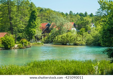 Beautiful village of Rastoke near Slunj in Croatia, river Slunjcica, old water mills and cottages