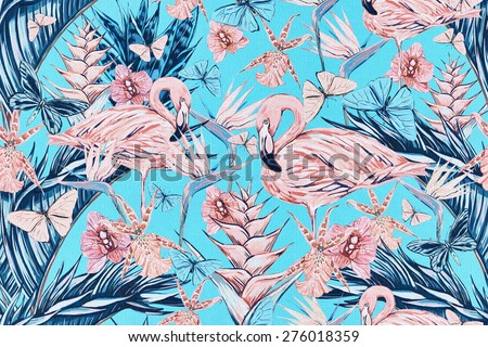 Beautiful vintage seamless floral jungle pattern background. Colorful watercolor tropical flowers, palm leaves and plants, butterflies, bird of paradise flower with pink flamingos, exotic print