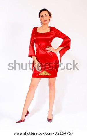 Beautiful Woman Wearing Red Dress - stock photo