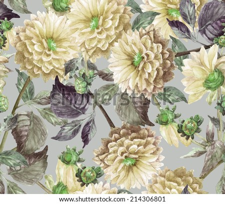 Beautiful  Yellow, Dahlias  floral seamless pattern. Watercolor illustration  - stock photo