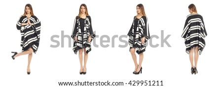 Beautiful young girl in fashionable  poncho coat isolated on white - stock photo
