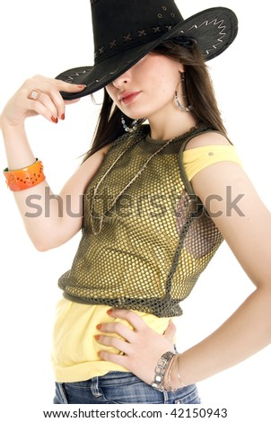 Beautiful young modern cowgirl isolated on white background