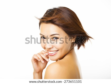 beautiful young woman with the flying hair - stock photo