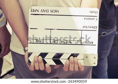 behind the scene, film crew production set  - stock photo