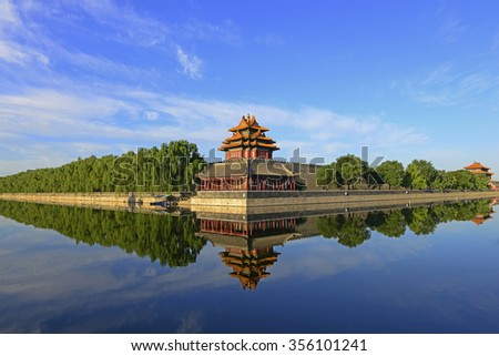 Beijing scenic the Imperial Palace watchtower - stock photo