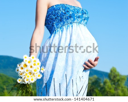 belly pregnant woman - stock photo